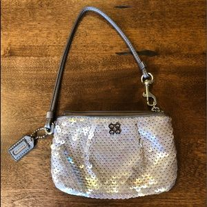 Coach Silver Sequined Wristlet